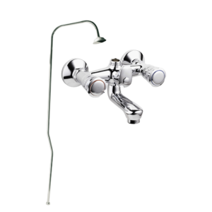 Art. BO2002 BATH AND SHOWER MIXER WITH STAND PIPE AND SHOWER ROSE – SERIE TREVI